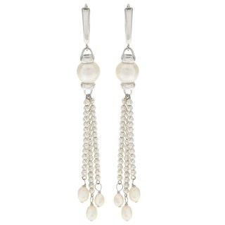 Pearls For You Sterling-silver White Freshwater Pearl and Brilliance Bead Dangle (4-5 mm, 9-9.5 mm) Earrings
