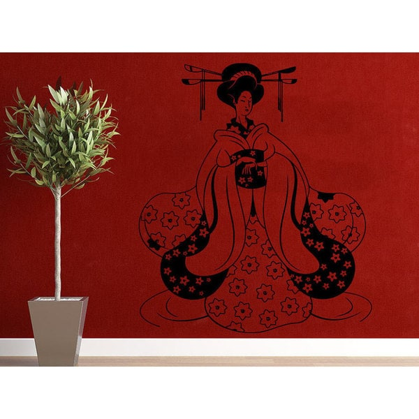 Geisha Vinyl Sticker Decals Girl Manga Oriental Girl Japan Japanese Home Decor Art Bedroom Sticker Decal size 22x30 Color Black