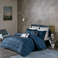 Madison Park Colton Navy Jacquard 7-Piece Duvet Cover Set