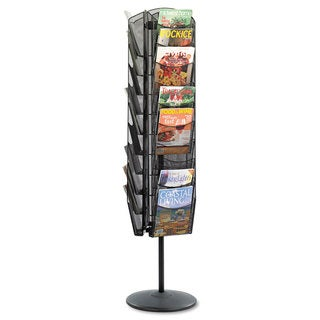 Safco Onyx Mesh Rotating Magazine Display 30 Compartments 16-1/2-inch wide x 66h Black