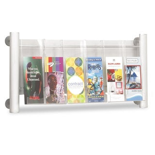 Safco Luxe Magazine Rack Three Compartments 31-3/4-inch wide x 5-inch deep x 15-1/4-inch high Clear/Silver