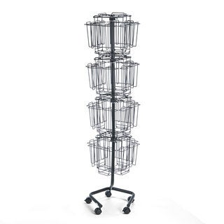 Safco Wire Rotary Display Racks 32 Compartments 15-inch wide x 15-inch deep x 60-inch high Charcoal