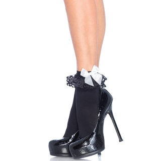 Leg Avenue Nylon Bow and Lace Ruffle Ankle Socks