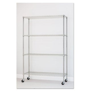 Alera Complete Wire Shelving Unit with Caster Four-Shelf 48 x 18 x 72 Silver