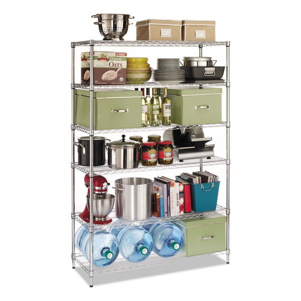 Alera Industrial Kitchen Carts At Lowes Com: Shop Alera Commercial Wire Shelving Six-Shelf 48-inch Wide