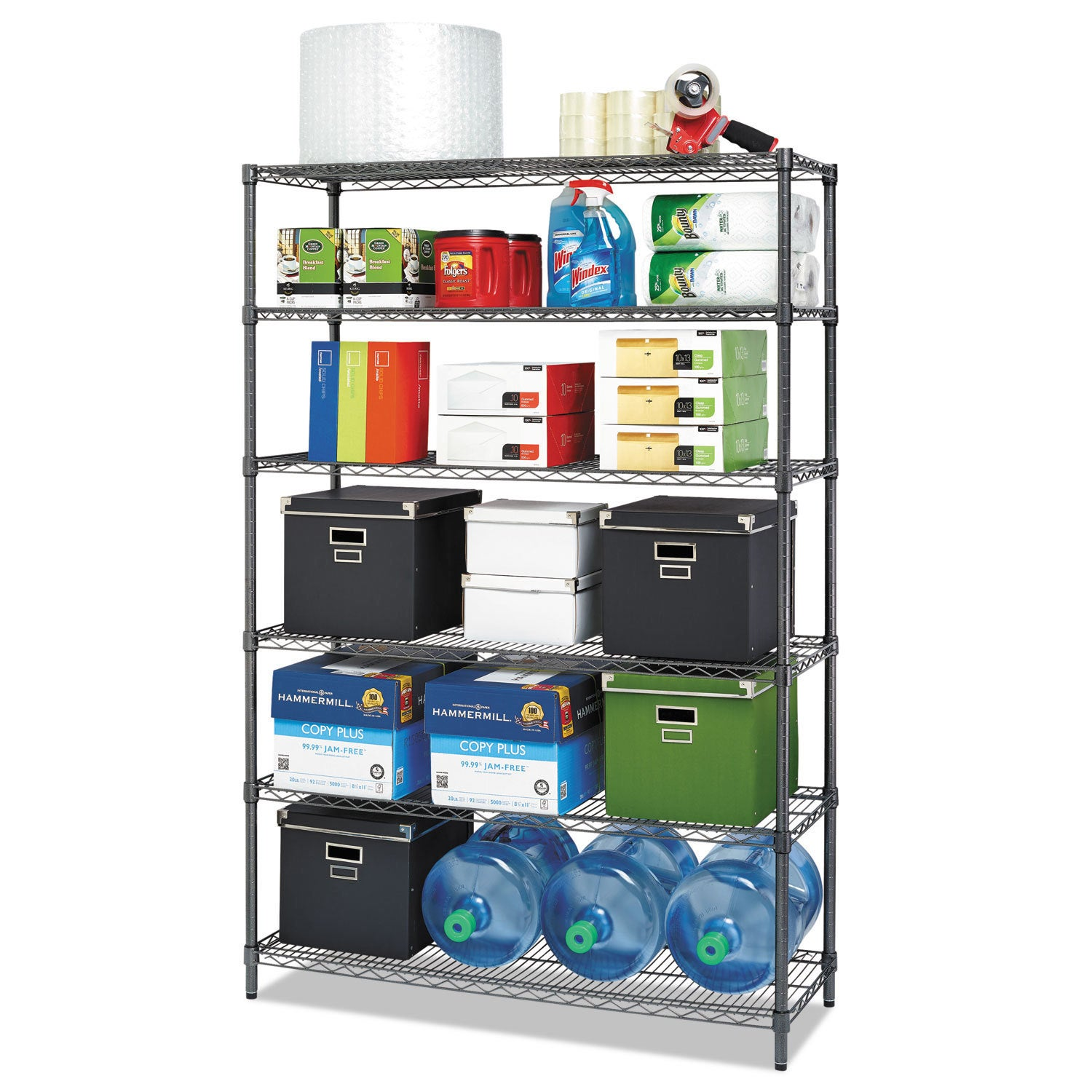 Alera Commercial Wire Shelving Six-Shelf 48-inch wide x 18-inch deep x 72-inch high Black Anthracite (Black Anthracite)