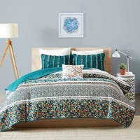 Intelligent Design Amelia Teal Printed 5-piece Coverlet Set