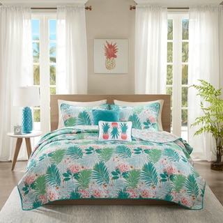 Intelligent Design Lilo Aqua Printed Coverlet Set