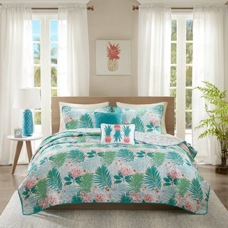 Intelligent Design Lilo Aqua Printed 5-piece Coverlet Set