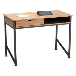 Safco Single Drawer Office Desk 43 1/4 x 21 5/8 x 30 3/4 Natural/Black