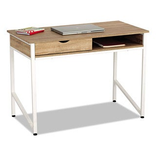 Safco Single Drawer Office Desk 43 1/4 x 21 5/8 x 30 3/4 Beech/White