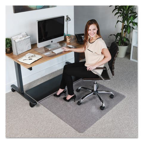 ES Robbins Sit or Stand Mat for Carpet or Hard Floors 45 x 53 Clr/Blk