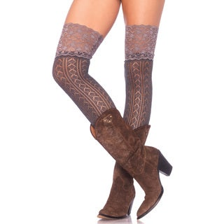 Leg Avenue Crochet Knit Over-the-knee Slouch Socks with Wide Lace Top