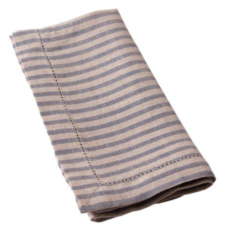 Cottage Home Bernadette Steel Blue Stripe Linen Guest Towels (Set of 2)