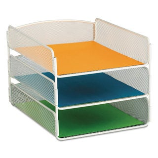 Safco Desk Tray Three Tiers Steel Mesh Letter White