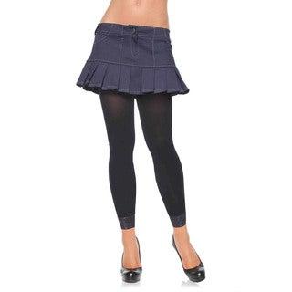 Leg Avenue Black Nylon Opaque Footless Lace Trim Tights