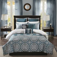 Madison Park Everett Teal 9 Piece Jacquard Comforter Set