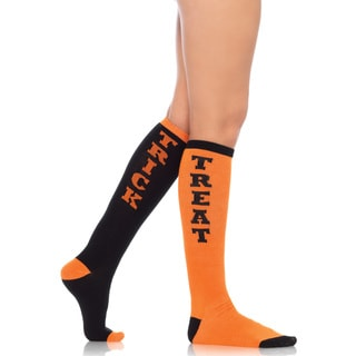 Leg Avenue Black and Orange Acrylic Trick or Treat Knee Socks