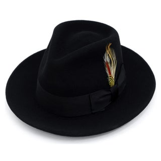 Ferrecci Premium 100% Wool Fully Lined Black Fedora Hat