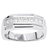 Luxurman 14K Gold Diamond Men's Wedding Ring 1.36ct