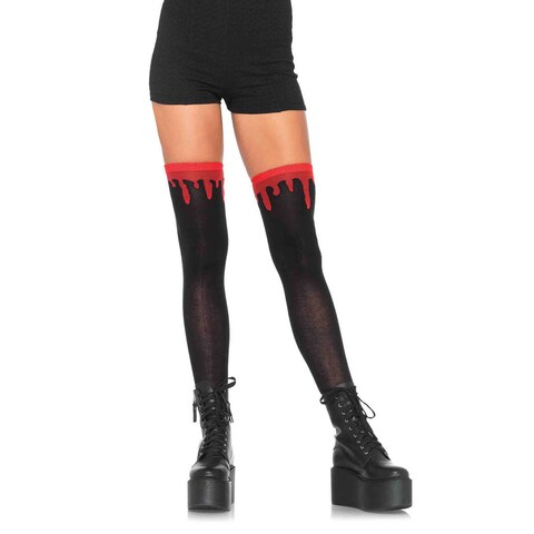 Leg Avenue Red and Black Dripping Blood Woven Over-the-Knee Socks