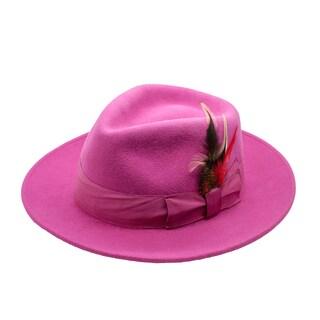 Ferrecci Men's Fuchsia Wool Fully Lined Fedora Hat