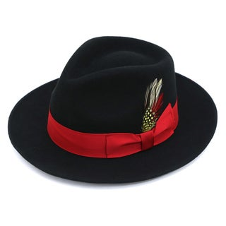Ferrecci Men's Premium Black with Red Band Wool Fully Lined Fedora Hat