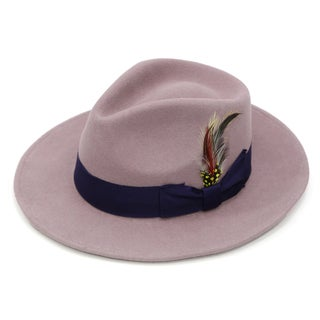 Ferrecci Lavender with Purple Band Wool Fully Lined Fedora Hat