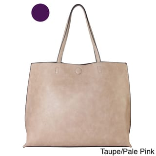 Diophy 2-tone Faux Leather Large Reversible Tote Handbag