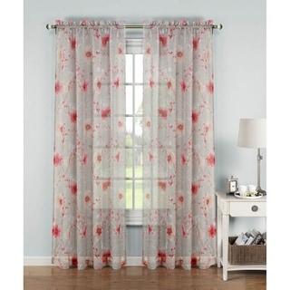 Window Elements Pamela Printed Sheer Extra Wide 96-inch Rod Pocket Curtain Panel