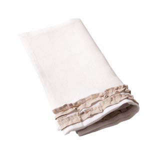 Petite Ruffle White and Tan Linen Guest Towels (Set of 2)