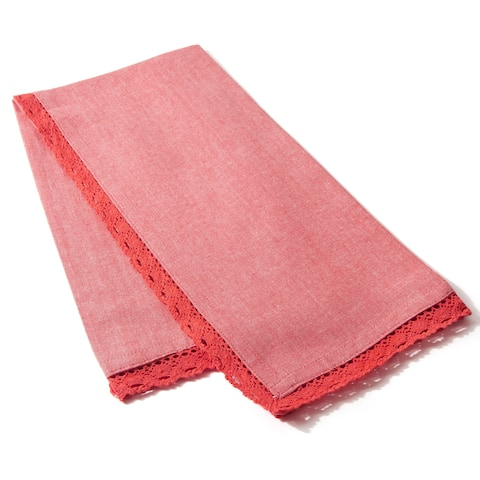 Cottage Home Lace Raspberry Tea Towel Cotton 20 x 28 (Case of 2) - 20 x 28