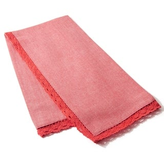 Cottage Home Lace Raspberry Cotton Tea Towel (Set of 2)