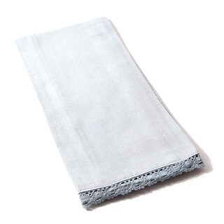 Cottage Home Blue Linen 28-inch Lace-trimmed Tea Towels (Set of 2)