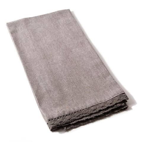 Cottage Home Lace Charcoal Cotton Tea Towel (Set of 2)