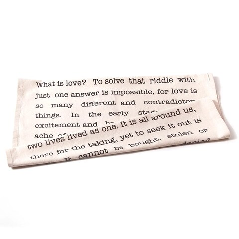 'Love' Ivory-colored Cotton Tea Towels (Set of 2)