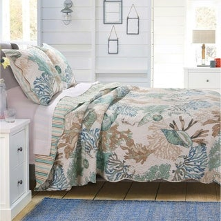 Barefoot Bungalow Atlantis Reversible Coastal Quilt Set