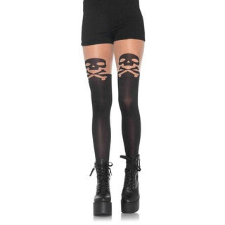 Leg Avenue Black Nylon and Spandex Skull and Crossbone Opaque Pantyhose