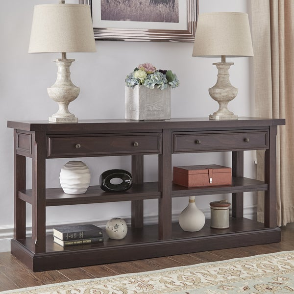 Jenson Espresso Wood 2 Drawer Sofa Table TV Stand By INSPIRE Q Classic