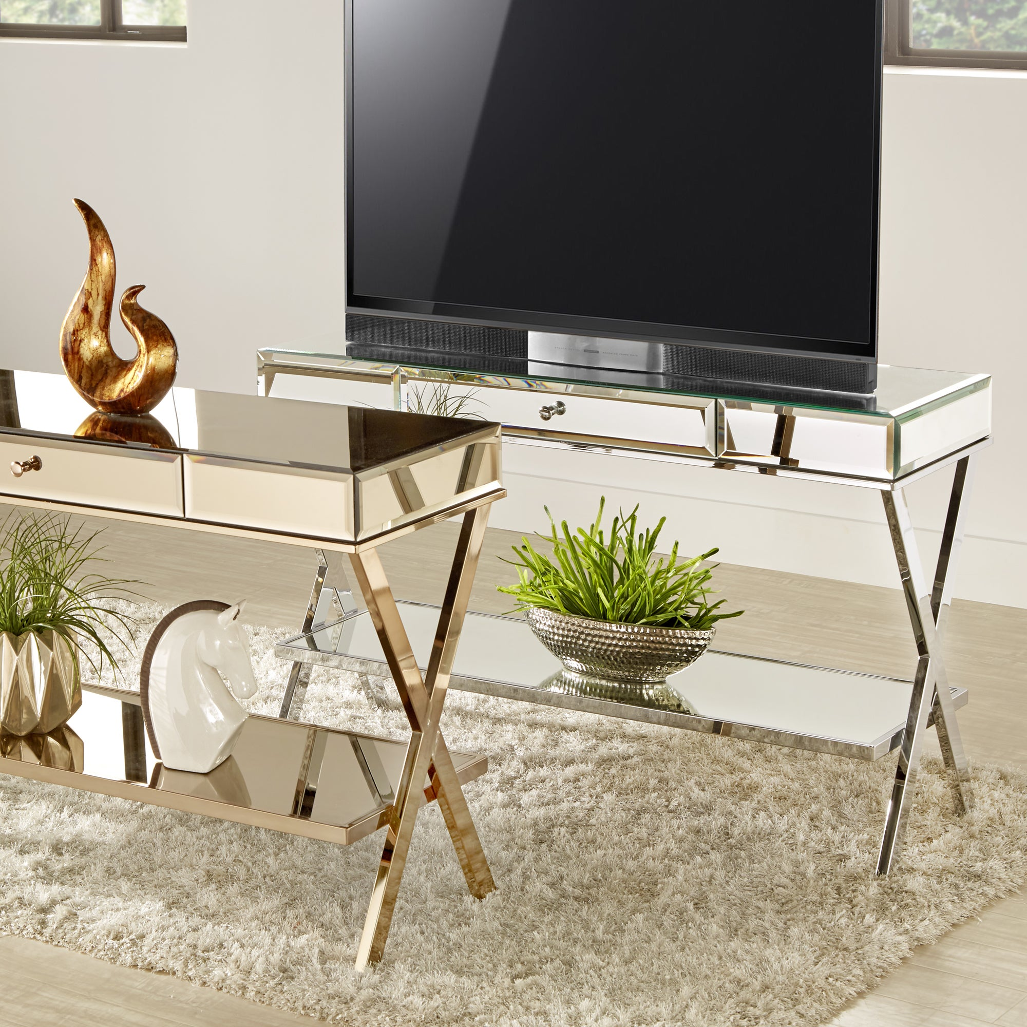 Omni-X-Base-Mirrored-TV-Stand-with-Drawer-