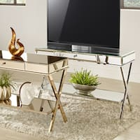 Silver Orchid Olivia X-Base Mirrored TV Stand with Drawer