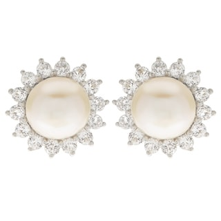 Pearls For You Sterling-silver White Freshwater Pearl and White Topaz Stud Earrings