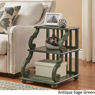 Lorraine Wood Scroll End Table by iNSPIRE Q Classic (Option: Antique Sage Green)