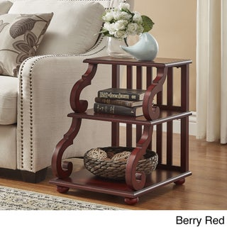 Lorraine Wood Scroll End Table by iNSPIRE Q Classic (Option: Berry Red)