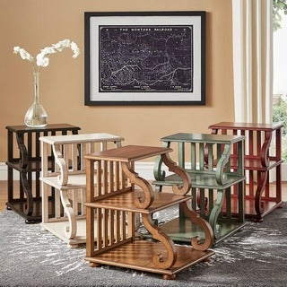 Lorraine Wood Scroll End Table by TRIBECCA HOME