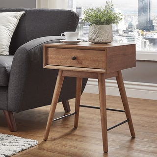 Aksel Brown Wood 1-Drawer End Table by MID-CENTURY LIVING