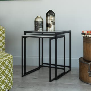 Buy grey nesting tables coffee console sofa end tables online wicker park haddon nesting tables watchthetrailerfo
