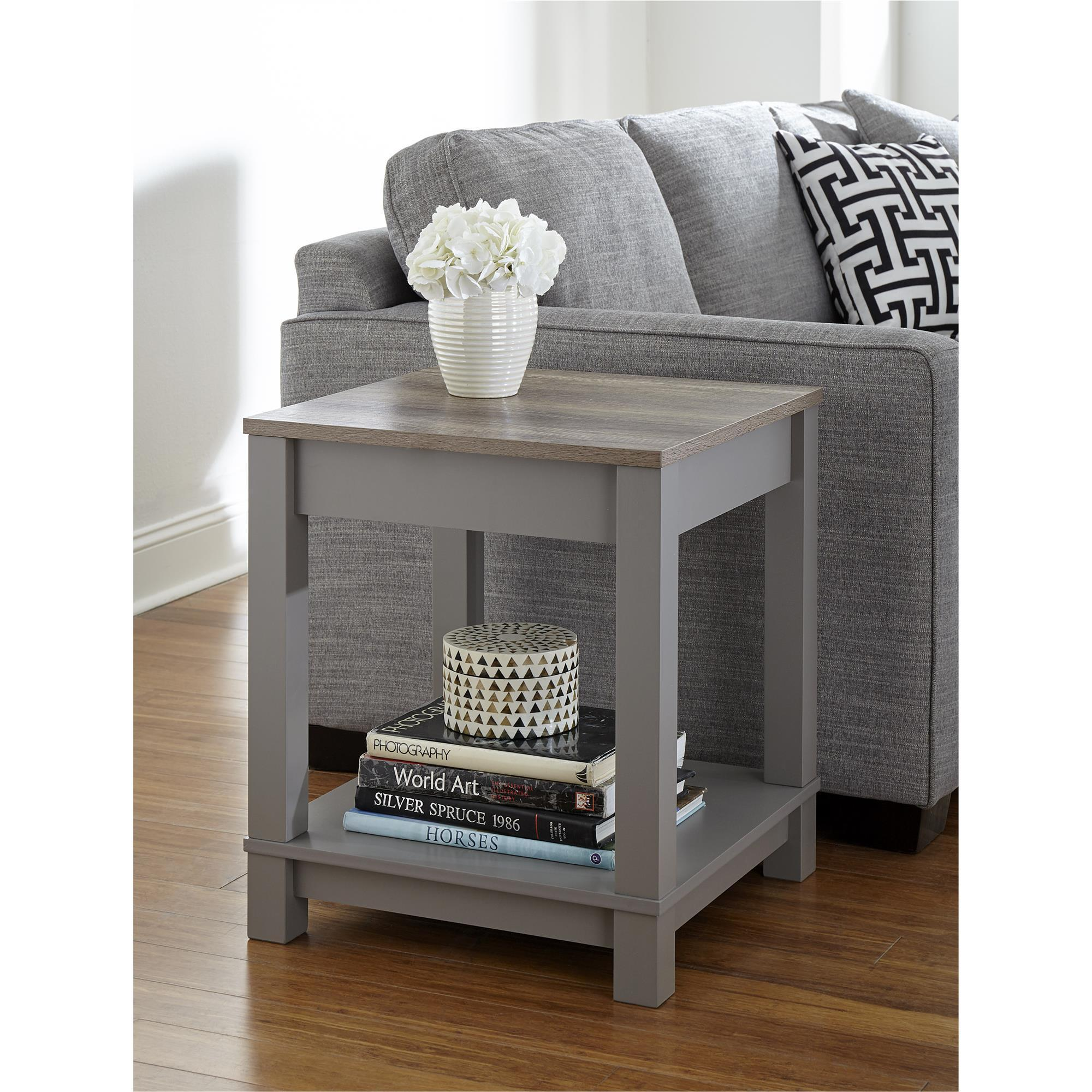 Details About Wooden End Tables Side Table Coffee W Shelf Organizer Living Room Bedroom Gray