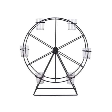 Carbon Loft Stevens Black Metal/ Glass Ferris Wheel Candle Holder