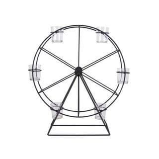 Benzara Black Metal/Glass Ferris Wheel Candle Holder